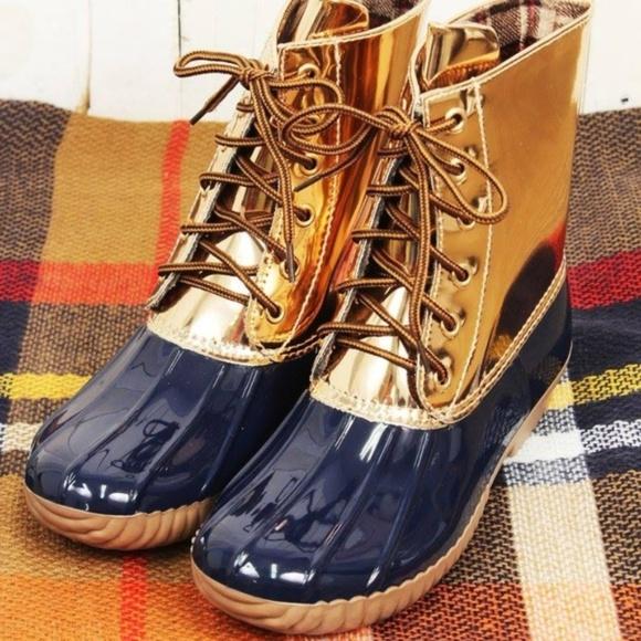 411b56f0f0cc Yoki Navy   Rose Gold Duck Boots (RUNS SMALL)